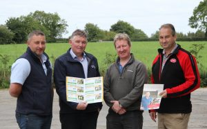 Outlining plans for the open day are, from left: Pearse McNamee and Pat Hackett, Dovea Genetics; host farmer Trevor Wilson, Newtownstewart; and Jim Irwin, Lely Center Eglish.  Picture: Julie Hazelton